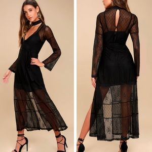 Lulu's Starry Eyed Black Lace Dress